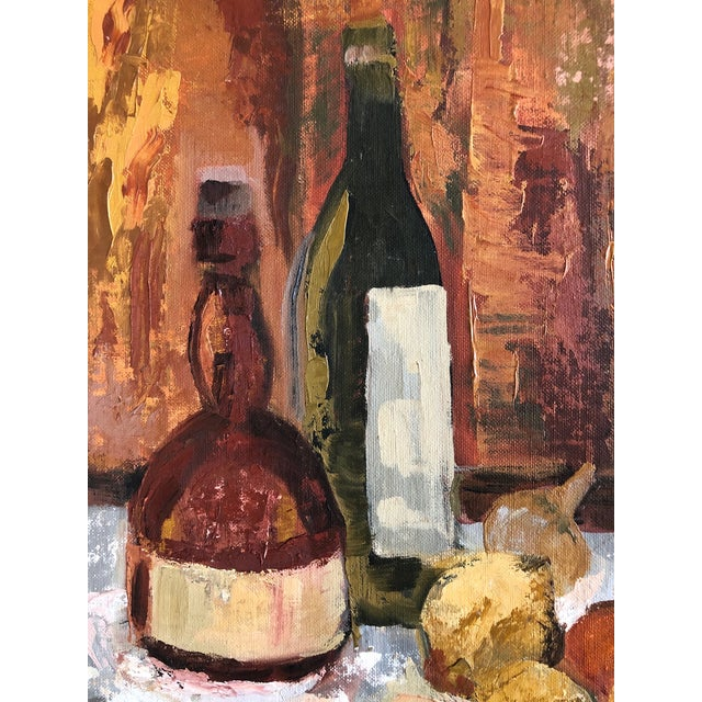 Traditional 1960s Traditional Still Life Painting With Wine and Citrus on Board For Sale - Image 3 of 7