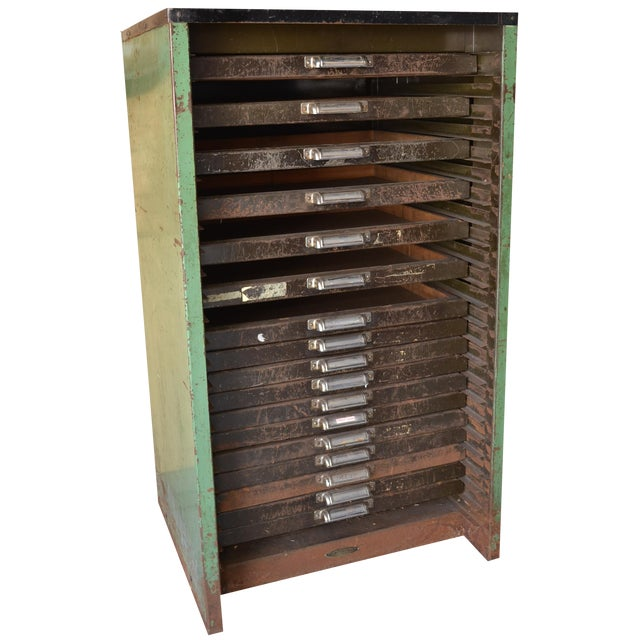 Antique Thompson Letterpress Printing Cabinet - Image 1 of 8