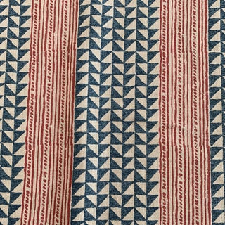 Carolina Irving Aegean Strip Indigo Blue and Red on Natural Linen Fabric- 3 Yards For Sale