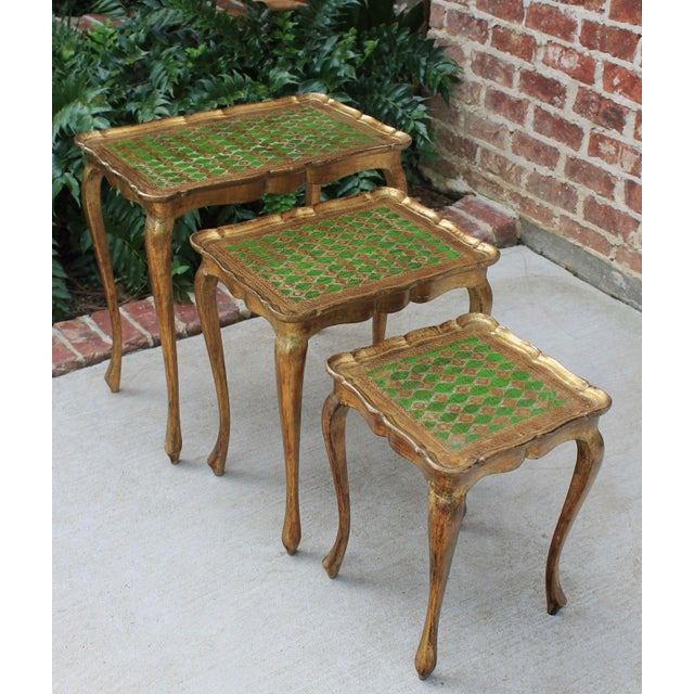 Vintage Italian Gold & Green Tole Nesting Tables Gilt Florentine Set of 3 For Sale - Image 13 of 13