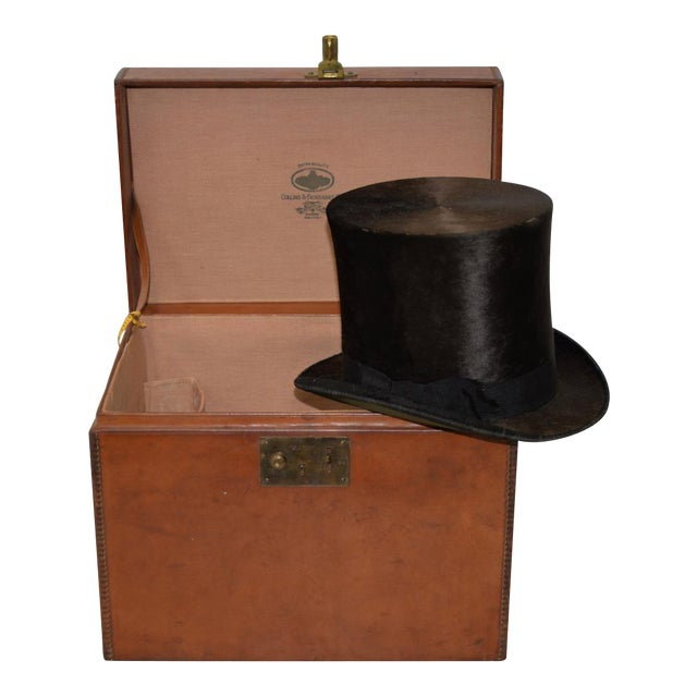1800s Dunlap & Co. Top Hat & Leather Hat Box by Collins & Fairbanks Co. For Sale