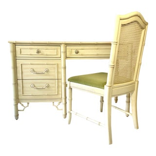 Faux Bamboo Fretwork Desk & Chair by Thomasville - 2 Pc. Set For Sale