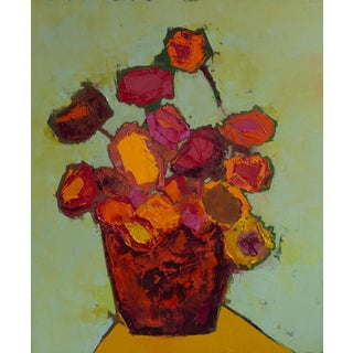 """Bill Tansey """" Flowers"""" Abstract Floral Oil on Canvas For Sale"""