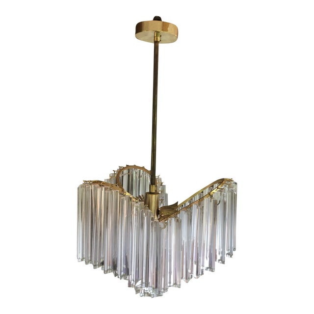 Vintage Italy Mid-Century Venini Camer Murano Glass Chandelier For Sale