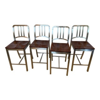Stainless Steel and Mahogany Counter Stools - Set of 4 For Sale
