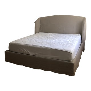 Contemporary Cisco Emma Eastern King Slipcovered Bedframe For Sale