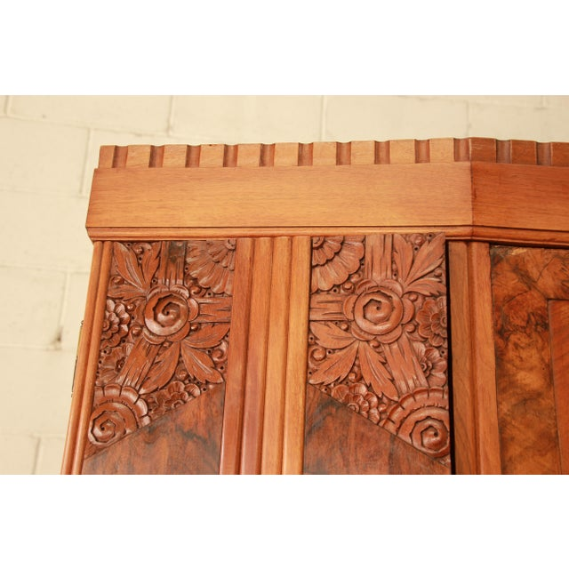 Brass Vintage French Art Deco Burl Wood Mirrored Front Knockdown Wardrobe For Sale - Image 7 of 11