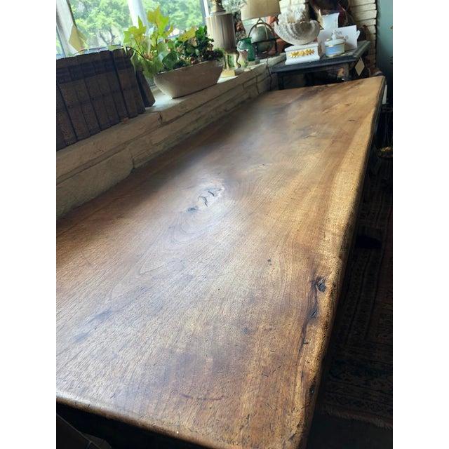 Northern Italian 19th Century Walnut Trestle Table For Sale In Dallas - Image 6 of 11