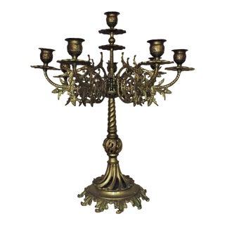 Antique Brass Candelabra 8 Lights For Sale