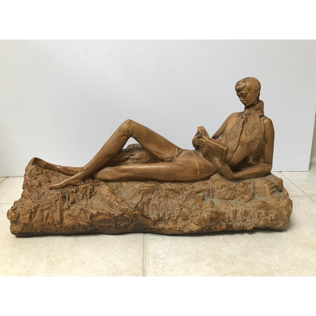 Clay Reading Boy Sculpture - Image 2 of 6