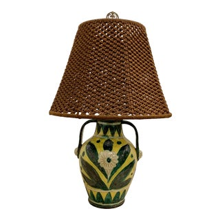 Spanish Glazed Pottery Lamp For Sale