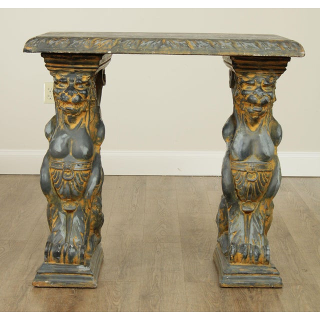 Vintage Cast Stone Winged Griffin Console Table Chairish