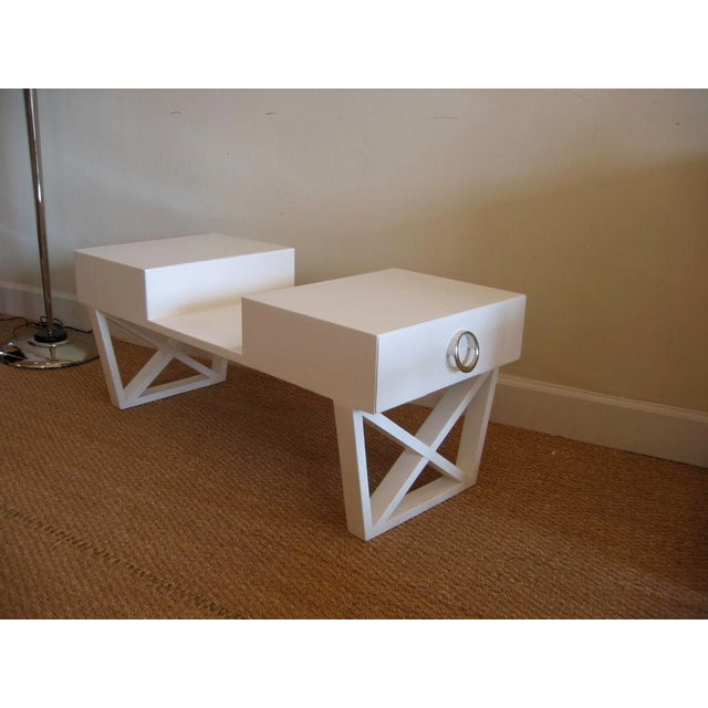 Early 20th Century White Lacquered Over Wood Mid Century X Frame Cocktail Table For Sale - Image 5 of 6