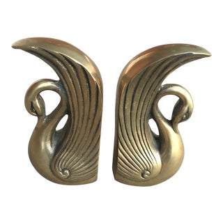 Pair of Vintage Mid-Century Brass Swan Bookends For Sale