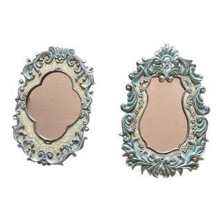 Vintage Blue Rococo Style Wall Mirrors - a Pair For Sale