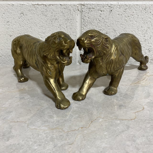 Vintage Brass Tigers - a Pair For Sale - Image 12 of 12