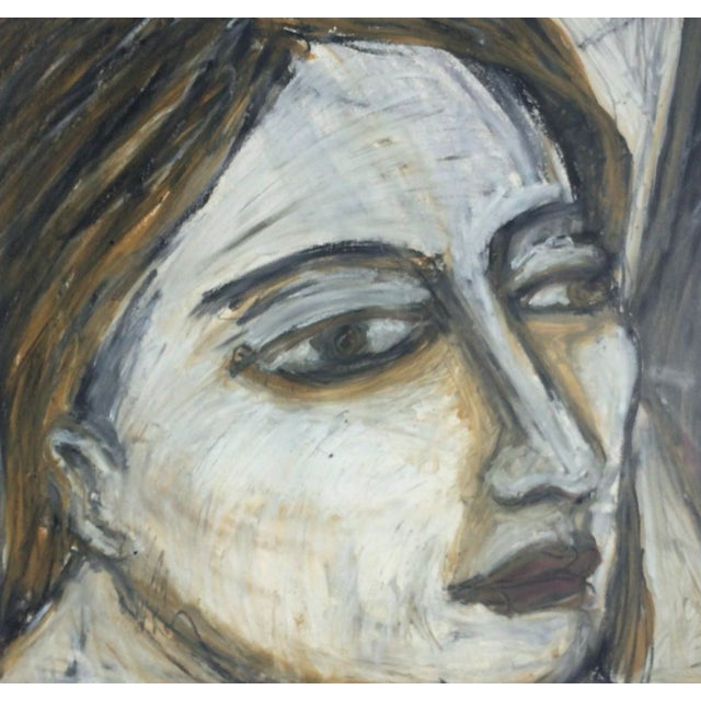 Abstract 1989 Rebecca Raubacher, Abstract Portrait Oil Stick Drawing Framed For Sale - Image 3 of 9