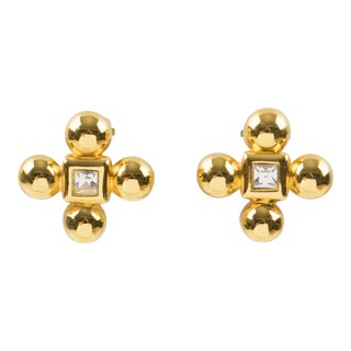 Yves Saint Laurent Paris Clip on Earrings Gilt Metal & Glass Rhinestone Clover For Sale