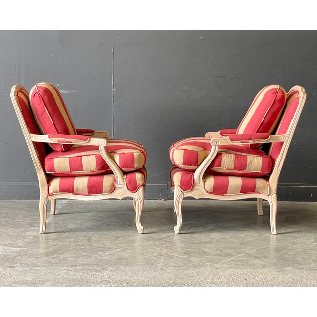 French Country Style Lounge Chair and Ottoman a Pair For Sale - Image 4 of 11