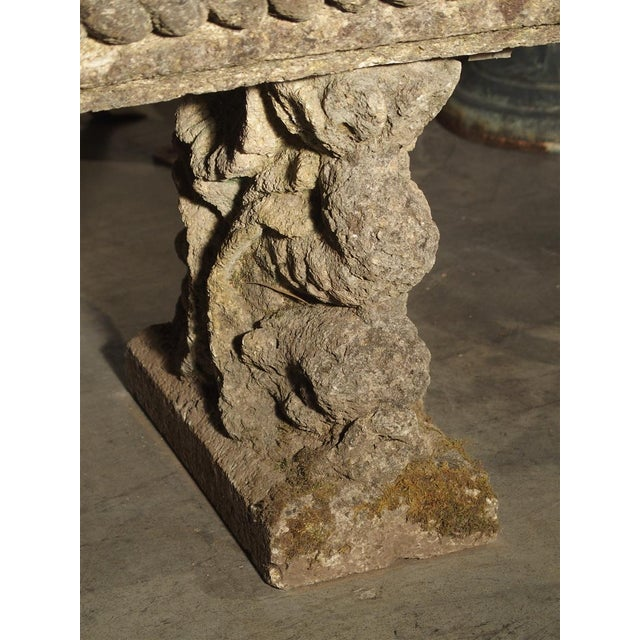 1900 - 1909 Circa 1900 Reconstituted Stone Dolphins Bench From France For Sale - Image 5 of 13