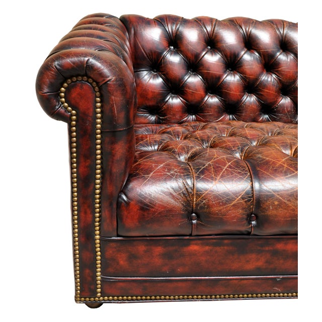 1940's English Red Oxblood Leather Chesterfield Sofa - Image 7 of 8