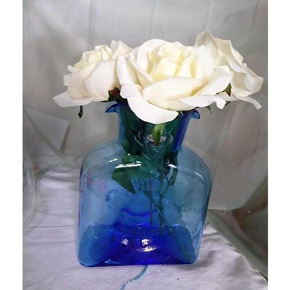 Art Glass Blenko Hand Made Glass Water Pitcher For Sale - Image 7 of 12