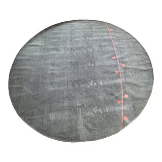 Contemporary Custom Hand Knotted Round Area Rug For Sale