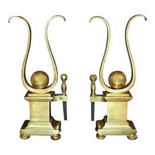 French Solid Brass Lyre Shape Andirons - a Pair For Sale