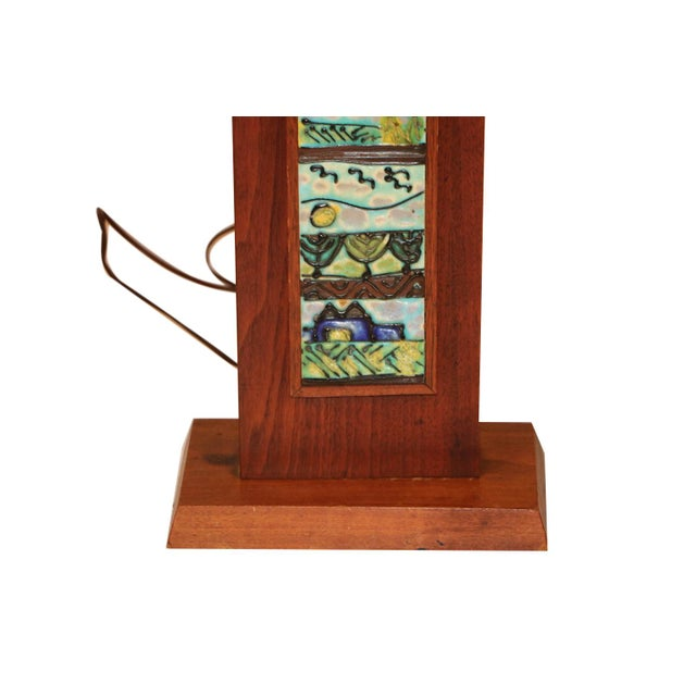 A unique and fascinating Mid Century, rectangular, wood tile table lamp, designed by Harris Strong, circa 1960's. Features...