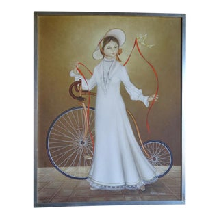 Alejandro Camarena Painting, Girl With a Penny Farthing Bicycle, a Dove and a Long Red Ribbon For Sale