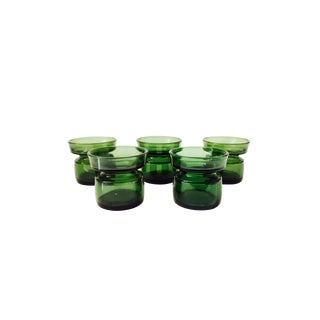 Mid Century Green Glass Dansk Candle Holders - Set of 5
