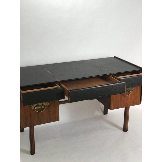 Brown Bert England for John Widdicomb Leather Top Walnut Stilted Desk With Brass Pulls For Sale - Image 8 of 12