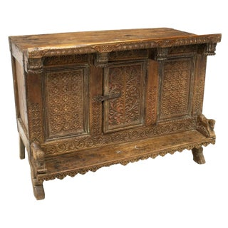19th Century Large Indian Carved Low Cabinet Console For Sale