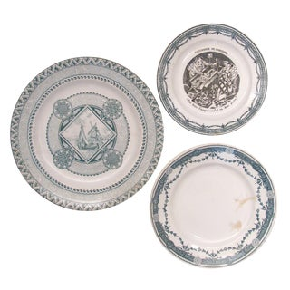 French & English Green Transferware Collection, S/3 For Sale