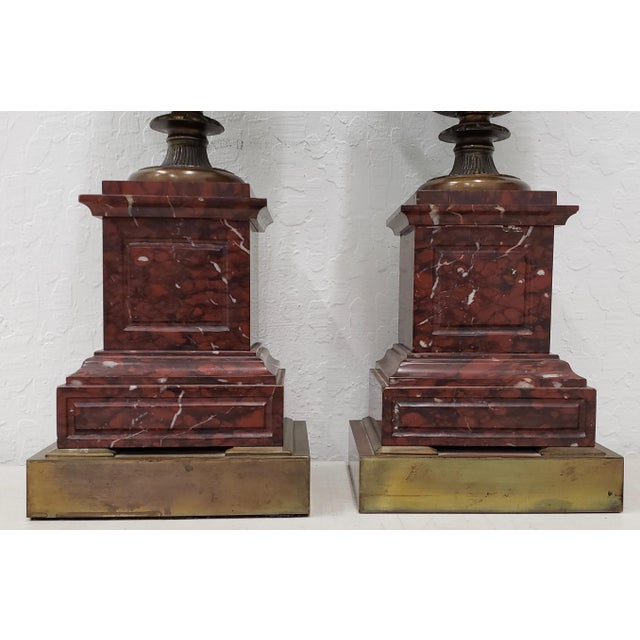 Vintage Classical Roman Bronze Urns & Marble Table Lamps - a Pair For Sale - Image 4 of 11