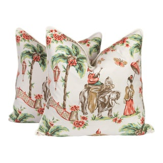 Coral and Cream Linen Chinoiserie Pillows, a Pair