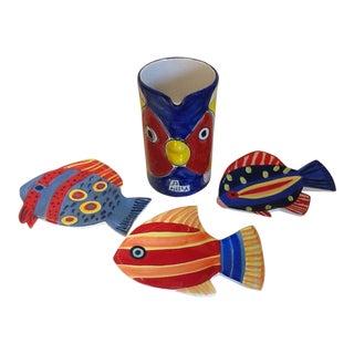 Italian La Musa Pottery Fish Pitcher & Ceramic Fish Plates - Set of 4 For Sale