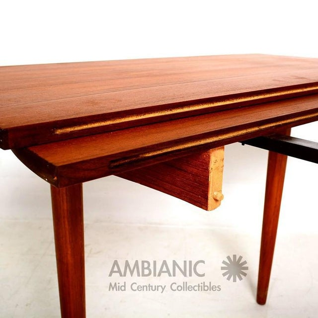 Danish Modern Teak Round Oval Dining Table For Sale - Image 4 of 8