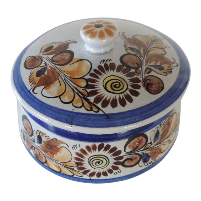 Round Blue and Brown Mexican Talavera Ceramic Decorative Box For Sale