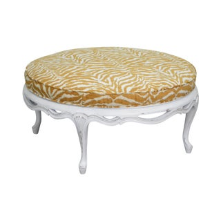Custom Painted Large Round Upholstered French Ottoman Bench
