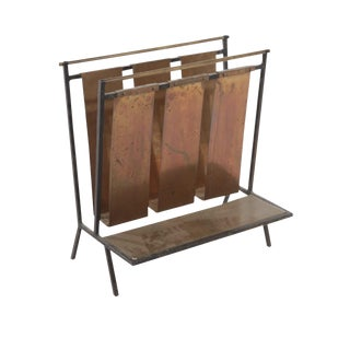 1950s Art Nouveau Jacques Adnet Attributed French Brass and Wrought Iron Magazine Rack For Sale