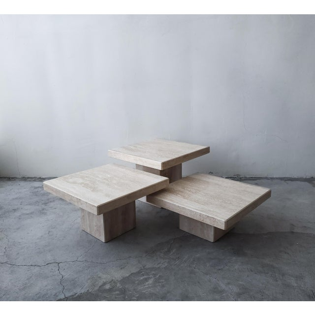 Set of 3 Square Tiered Italian Travertine Bunching Tables For Sale - Image 4 of 8