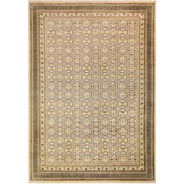 Kafkaz Peshawar Jenna Light Gold & Green Wool Rug - 9'10 X 14'0 For Sale