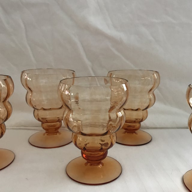 Glass Vintage Amber Ribbed Glasses - Set of 8 For Sale - Image 7 of 11