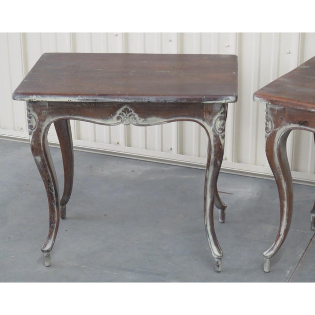 Pair of Louis XV style distressed painted end tables.