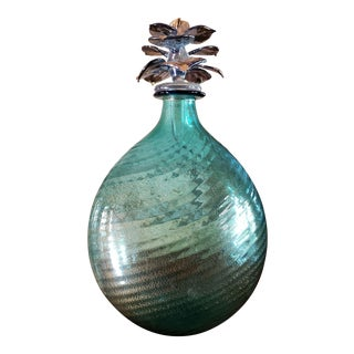 Salviati Venetian Italian Green Art Glass Decanter Bottle With Gold Flecks & Floral Stopper For Sale
