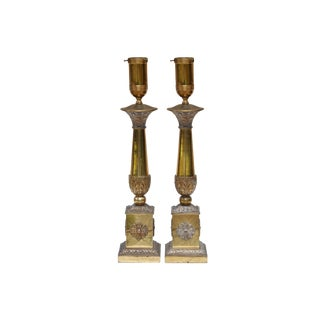 French Empire Style Brass Table Lamps, a Pair For Sale