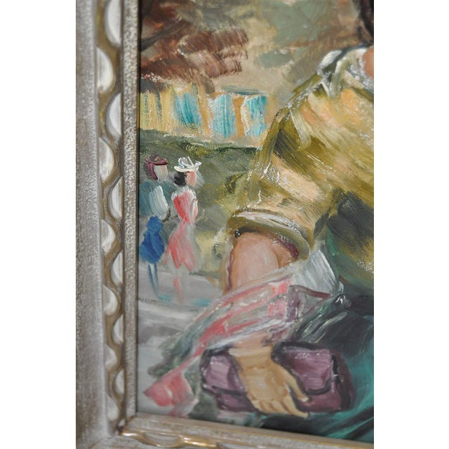 American Woman in Europe Oil Painting c.1950s For Sale - Image 7 of 9