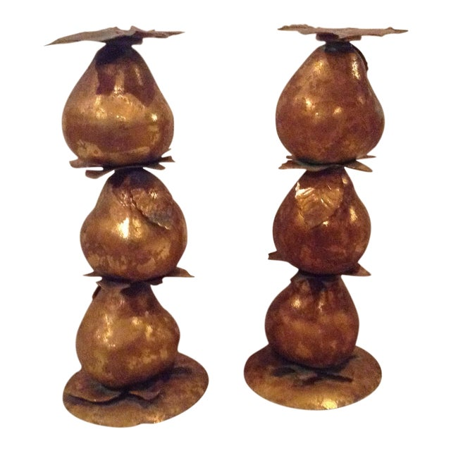 Metallic Pear Candle Holders - A Pair - Image 1 of 3