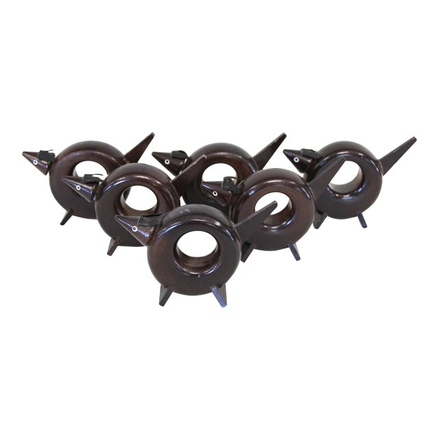 Rosewood Dog Napkin Rings - Set of 6 - Image 1 of 5